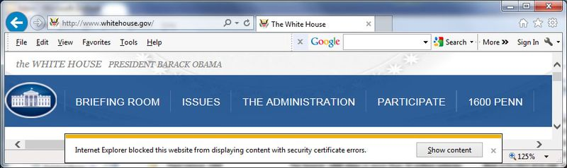 WhiteHouse.gov certificate errors